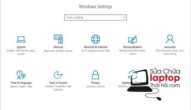 Mở cửa sổ Window Settings