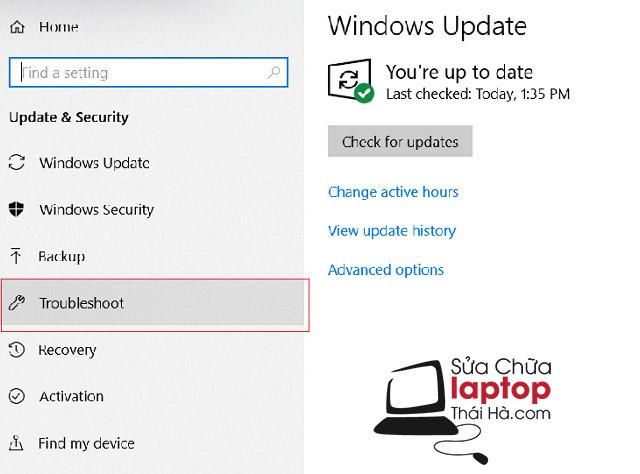 Tại thư mục Update & Security click chọn Troubleshoot