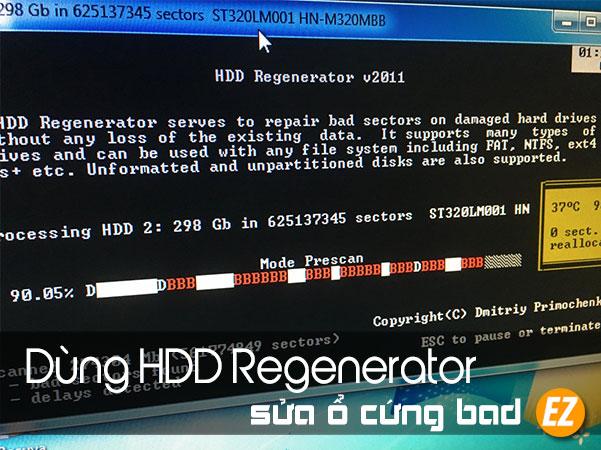 Sử dụng HDD Regenerator để tìm và sửa ổ cứng bad